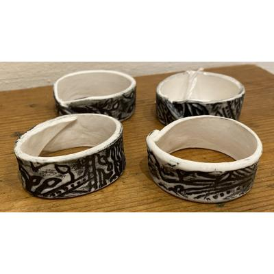 Set Of Four Napkin Rings, Grey/Black
