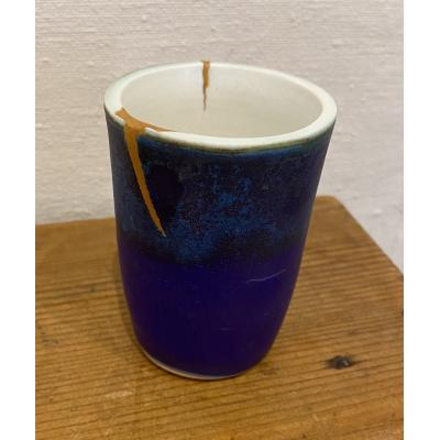Small Two Tone Blue Vessel With Gold Flash