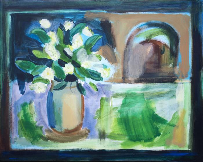 Rhododendrons and vase